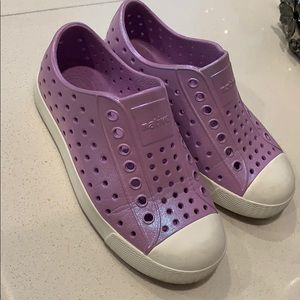 Iridescent purple native shoes